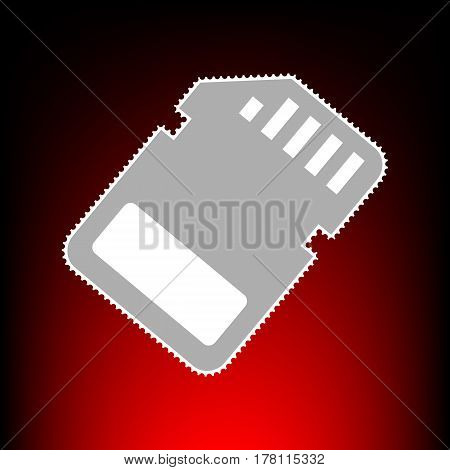 Memory card sign. Postage stamp or old photo style on red-black gradient background.