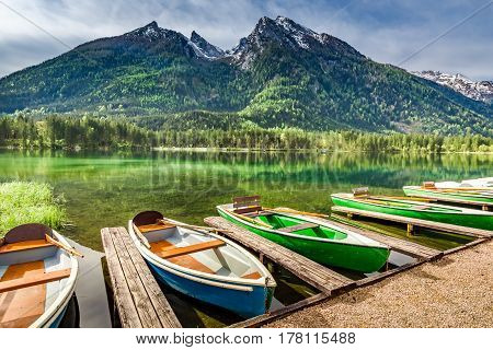 Few Boats On The Lake Hintersee In German Alps, Europe