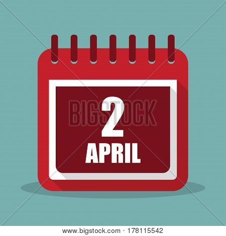Calendar with 2 april in a flat design. Vector illustration
