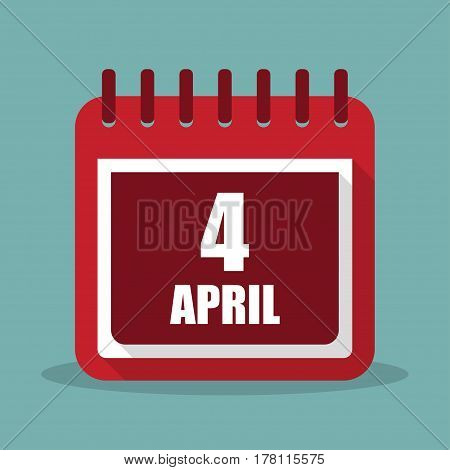 Calendar with 4 april in a flat design. Vector illustration