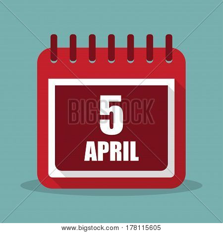 Calendar with 5 april in a flat design. Vector illustration