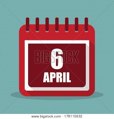 Calendar with 6 april in a flat design. Vector illustration