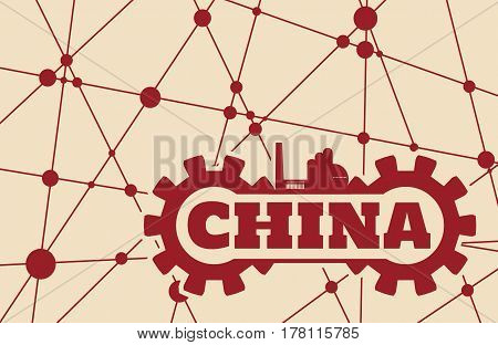 China word build in gear. Heavy industry relative image. Molecule And Communication Background. Vector brochure or report design template. Connected lines with dots.