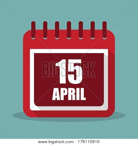 Calendar with 15 april in a flat design. Vector illustration