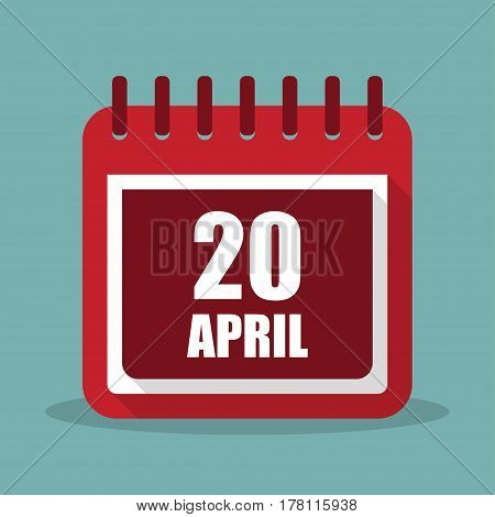 Calendar with 20 april in a flat design. Vector illustration
