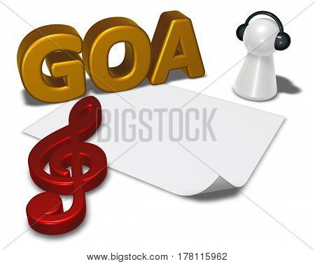 goa tag blank white paper sheet and pawn with headphones - 3d rendering