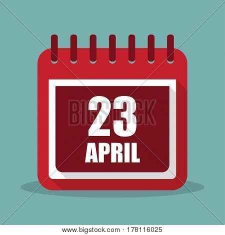 Calendar with 23 april in a flat design. Vector illustration
