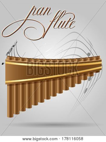 pan flute wind musical instruments stock vector illustration isolated on gray background