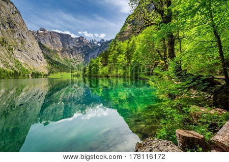 Stunning Obersee lake in Alps in spring Germany Europe poster