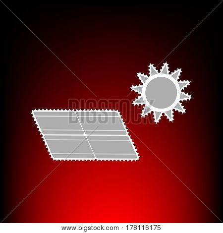 Solar energy panel. Eco trend concept sign. Postage stamp or old photo style on red-black gradient background.
