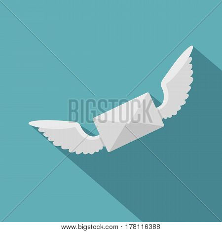 White envelope with two wings icon. Flat illustration of white envelope with two wings vector icon for web isolated on baby blue background