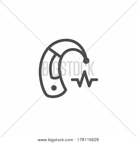 Hearing aid line icon isolated on white. Vector illustration