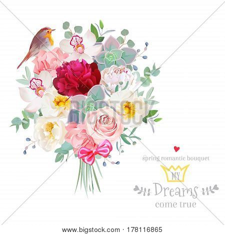Bouquet arranged from white and burgundy red peony, peachy rose, echeveria, orchid, carnation, eucalyptus and robin bird vector design set. Modern mixed style. All elements are isolated and editable