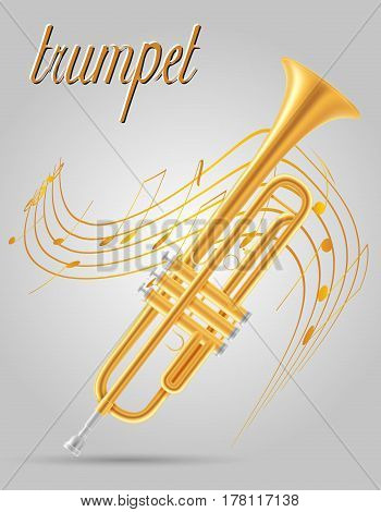 trumpet wind musical instruments stock vector illustration isolated on gray background