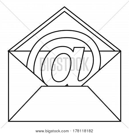 At sign mail in envelope icon. Outline illustration of at sign mail in envelope vector icon for web