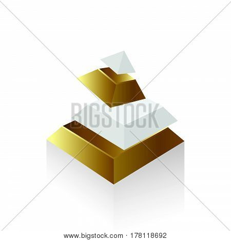 pyramid transform Gold style vector icon design support eps10.