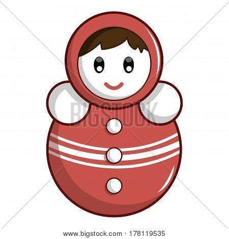 Red tumbler doll icon. Cartoon illustration of red tumbler doll vector icon for web