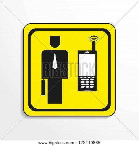 Mobile communication at work. Vector icon. Black-and-white object on a yellow background.