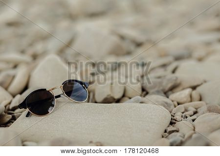 Stylish Hipster Sunglasses On Beach With Space For Text. Wanderlust And Travel Concept. Summer Vacat
