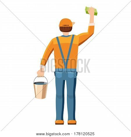 Man cleaning with bucket and sponge back view icon. Cartoon illustration of man cleaning with bucket and sponge back view vector icon for web