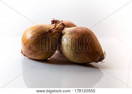 Three isolated onions against a white background