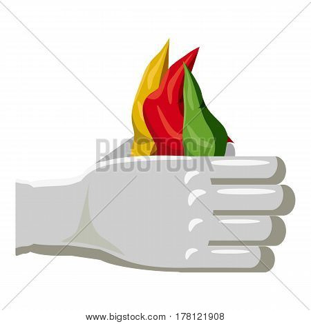Hands of a magician with colorful scarves icon. Cartoon illustration of hands of a magician with colorful scarves vector icon for web