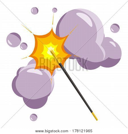 Magic wand icon. Cartoon illustration of magic wand vector icon for web
