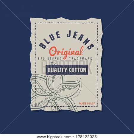 vintage original blue jeans raw denim labels genuine exclusive brands vector illustration