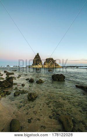 Sunrise view at Sawarna Beach, West Java Indonesia