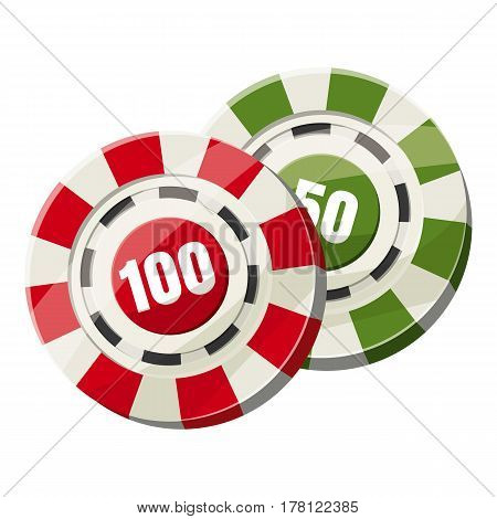 Poker chips nominal one hundred and fifty icon. Cartoon illustration of poker chips nominal one hundred and fifty vector icon for web