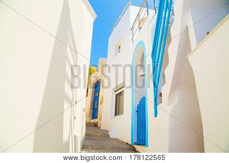 Beautiful views of santorini houses Greek Resort
