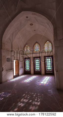 Kashan, Iran - Circa February 2016 - Interior shot of a historical house which is known as Abbasian House or Abbasi House in Kashan, Iran
