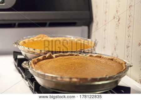 2 pumpkin pies cooling after being baked