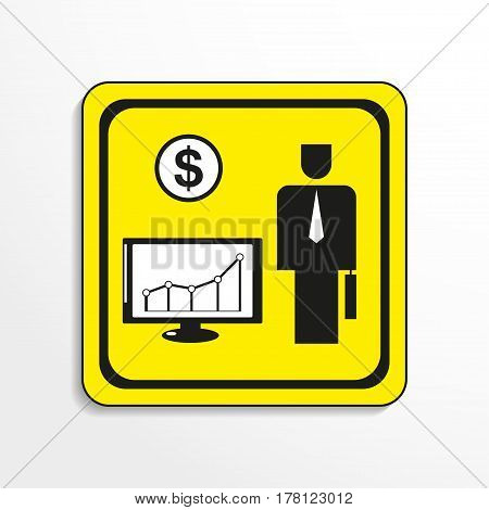 Schedule of financial gain. Vector icon. Black-and-white object on a yellow background.