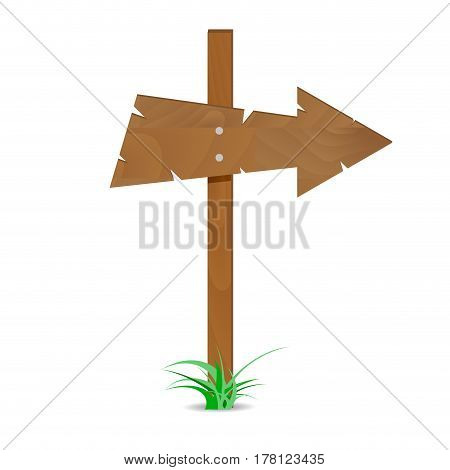 Wooden arrow sign. Road guide arrow direction wooden arrow. Vector illustration