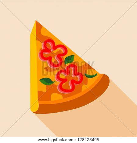 Pizza with red pepper and herbs icon. Flat illustration of pizza with red pepper and herbs vector icon for web