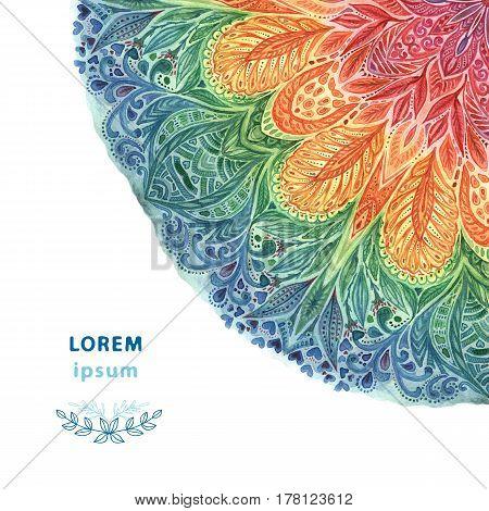 Beautiful watercolor mandala. Ornate round ornament. Decor for your design.