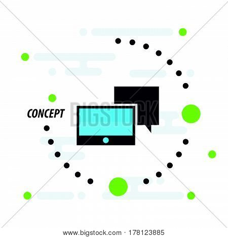 Tablet and bubble talk concept blue icon vector design support eps10.
