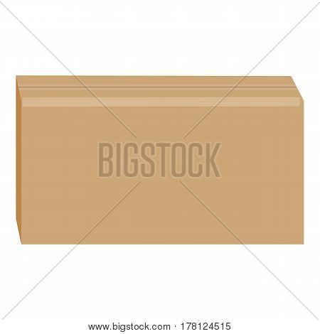 Sealed cardboard box mockup. Realistic illustration of sealed cardboard box vector mockup for web