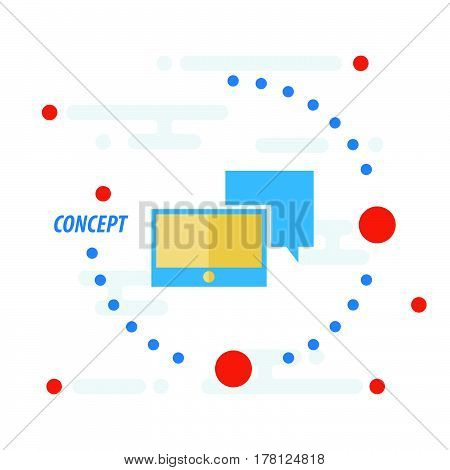 Tablet and bubble talk concept and icon vector design support eps10.