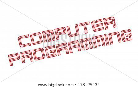 Computer Programming rubber stamp. Grunge design with dust scratches. Effects can be easily removed for a clean, crisp look. Color is easily changed.