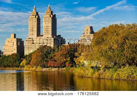 View of Upper West Side buildings and Central Park in Fall. Jacqueline Kennedy Onassis Reservoir Manhattan New York City