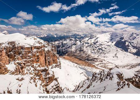 Breathtaking View From Top Of Sass Pordoi, Dolomites, Italy, Europe