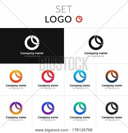 O letter logo set vector design. Abstract circle business logo on gradient background. Monochrome sphere symbol element. Colorful icon on isolated white and black background.