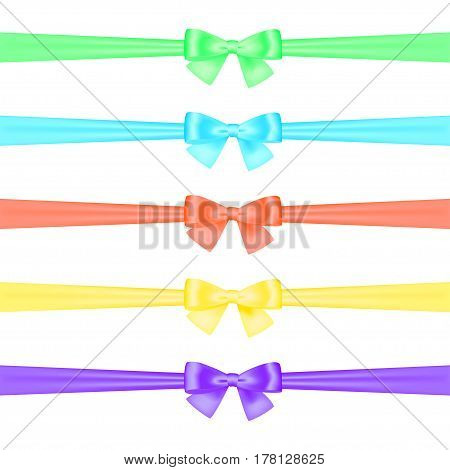 A set of satin ribbons tied in bows of different colors on a white background. Isolated. Vector illustration