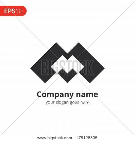 M and M letter logo vector design. Abstract logo. Monochrome monogram icon template. Grey color symbol on isolated white background.