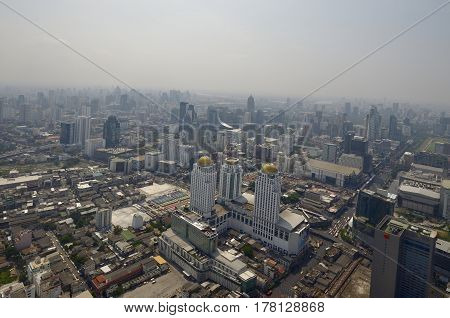 Bangkok view from the observation deck Baiyoke Sky