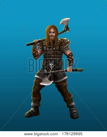 A severe barbarian viking in the fighting stance