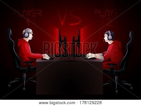 Two computer players sitting at the table opposite each other. Side view. Vector participants of cyber sport tournament poster