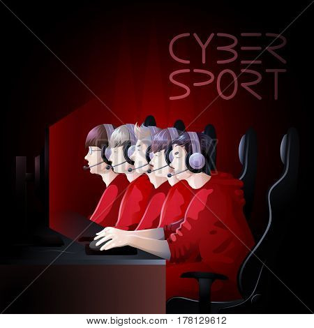 Team of five players sitting at the table in front of computer. Side view. Vector participants of cyber sport tournament